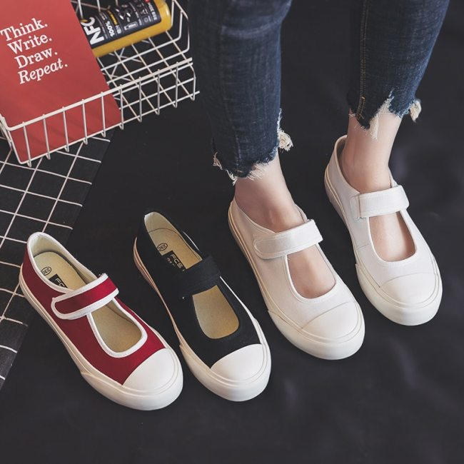 Summer Thin Canvas Shoes Female 2020 Spring New Women White Sneakers Hook Loop Solid Color Flat Heel Red Casual Shoes Girls 40