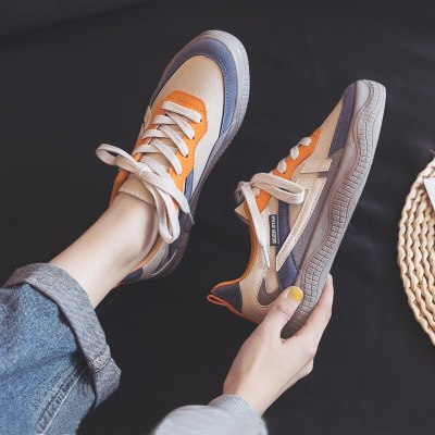 Canvas Shoes Women's 2020 New Spring Korean Style Chic Shoes Casual Mixed Color Low-top Lace Up Girl Fashion Sneakers 35-40