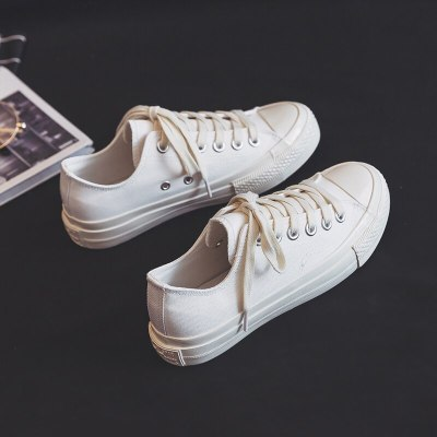 Women White Shoes Girls White Sneakers Lace Up Flat Heel Canvas Shoes Morning Frost White All Match Gumshoes Basic Concise Style