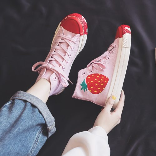 High Top Canvas Shoes for Women 2021 Spring New Strawberry Shoes Green Leaves Skateboard Shoes Outdoor Footwear Chic Sneakers