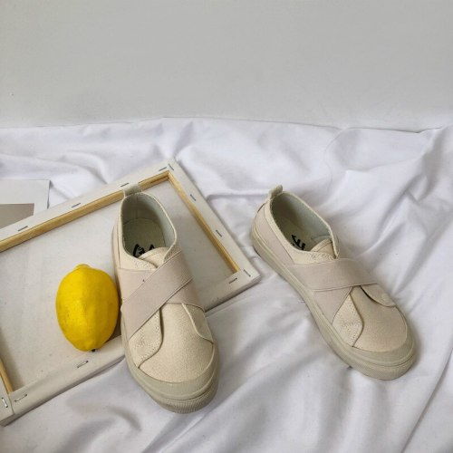 Canvas Shoes Students Girl Casual Shoes Beige Sneakers Slip on Loafers Round Head Elastic Band All Match Simple Concise Style