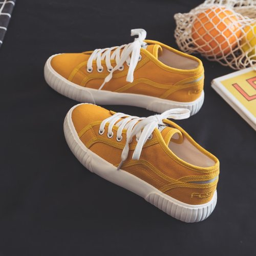 Women Casual Shoes 2020 New Solid Color High Top Lace Up Flat Heel Girl Cloth Shoes Sneakers All Match Candy Color Pink Trainers