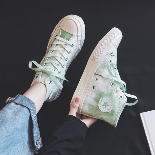 Girls Sneakers Printing and Dyeing 2020 Autumn New High-top Canvas Shoes for Female Good Quality Famous Brand Women Trainers
