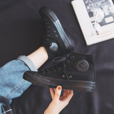 Women Canvas Shoes All Black High Top Sneakers Low Top Casual Shoes Pure Black Lace Up Flat Heel All Match Basic Style 35-40