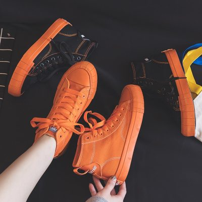 Women Sneakers 2020 Spring New Girls Orange Shoes Canvas High Top Black Lace Up Lady Fashion Casual Shoes Solid Color 35-40