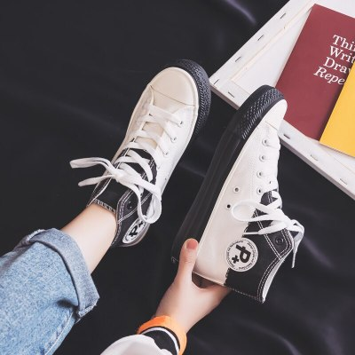 Women Canvas Shoes 2020 New Spring Sneakers Girls Students Casual Shoes Trainers Skateboard Shoes Mixed Colors High Up 35-40