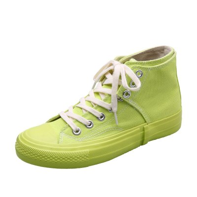 Pink Shoes Girl Bright Fluorescent Green Indigo Blue Sneakers Fashion Chic Canvas Shoes Spring Autumn 35-40 Lace Up 2020 New