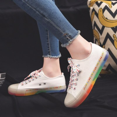 Women Canvas Shoes Sneakers Rainbow Sole 2020 Fashion Trends Spring Summer Vulcanized Shoes Girls Cool Trainers Low Top 35-40