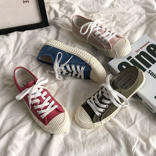2019 New Women Sneakers Candy Color Lady Pink Shoes Casual Students Leisure Shoe Lace Up All Match Stylish Sneaker Cloth 35-40