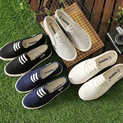 women men canvas shoes solid color female moccasins slip on loafers all match concise design unisex lovers shoes Chaussure Femme