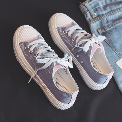 Women's Canvas Shoes Ulzzang All-match 2021 Summer Girls White Shoes Ins Fashion Mixed Colors Female Sneakers Sky Blue Gumshoes