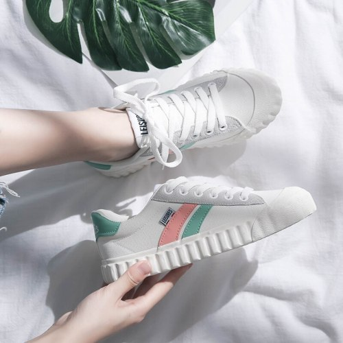 Sneakers Girls Casual Shoes Mixed Color 2020 Spring Fashion Trends Low Canvas Shoes Women Lace Up Nice Quality 35-40 Flat Heel