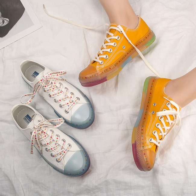 Transparent Rainbow Bottom Canvas Shoes Women 2020 New Student Korean Crystal Jelly Sole Girls Casual Sneakers Female Trainers