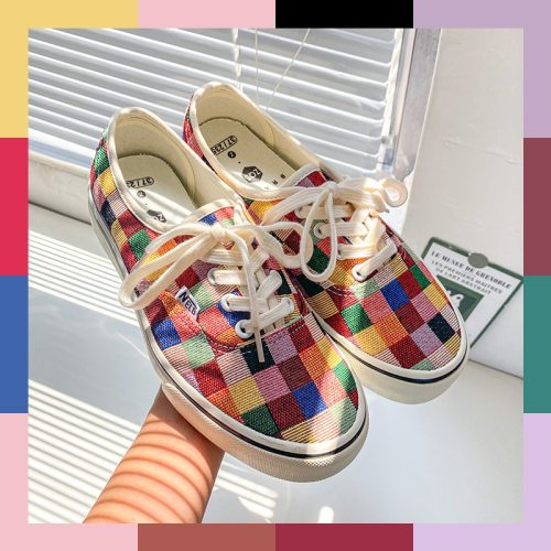 Girls Gumshoes Colorful Checkered Low Top Skateboard Shoes 2020 Summer New Stylish Women Casual Shoes Sneakers Leisure Red Green
