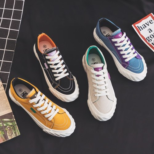 women stylish sneakers 2020 spring new candy color lady chic shoes ins trend black canvas shoes lace up thick bottom beige 35-40