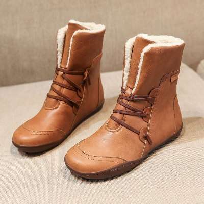 New women winter boots with warm plush ankle boot ladies snow boots flat platform size 35-43