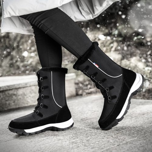 TUINANLE Women Winter Boots 2020 New Fashion Waterproof Cloth Black Women Shoes Hot Warm Plush Snow Boots Women Mid-calf Booties