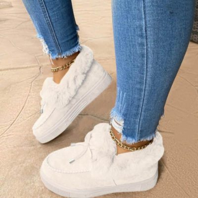 New Fashion Women Winter Cotton Shoes Plush Warm Snow Boots Ladies Casual Flat Short Boots Solid Color Furry Females Feetwear
