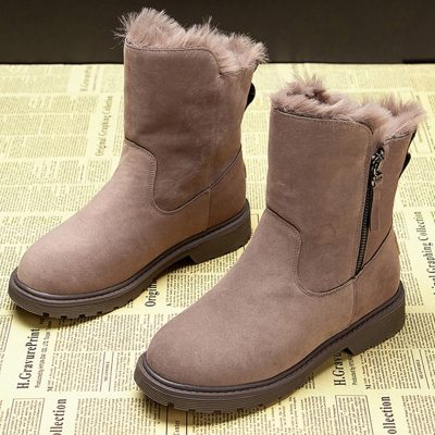 Women Winter Snow Boots Leather Zip Shoes Female Warm Fashion Ankle Boots Casual Black Botas Mujer Fur Shoes for women