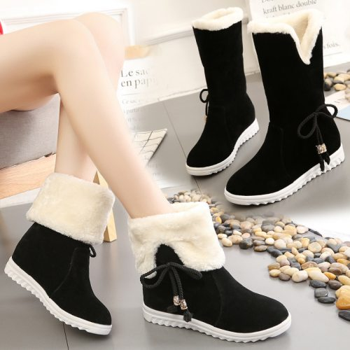 Women Snow Boots 2020 Winter Shoes Faux Suede Platform Snow Shoes Warm Plush Booties Anti-Slippery Increasing botas mujer 8572N