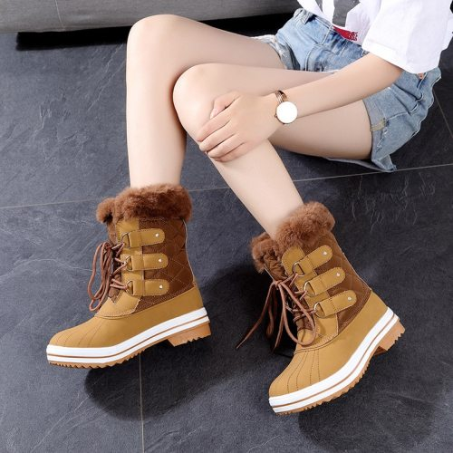 Big Size 36-42 High Quality 2020 Woman Snow Boots Women Winter Shoes Fashion Warm Plush Mid Calf Winter Boots Women Waterproof