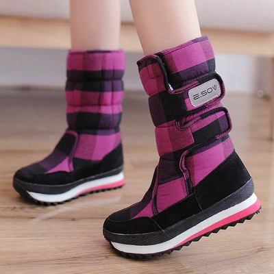 Thick fur warm winter boots women shoes 2020 new fashion hook&loop mid-calf winter shoe woman platform boots snow Botas Mujer