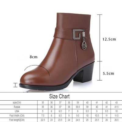 AIYUQI 2020 genuine leather  Women's warm booties winter boots brown ladies heel boots  adult fashion Villus boots