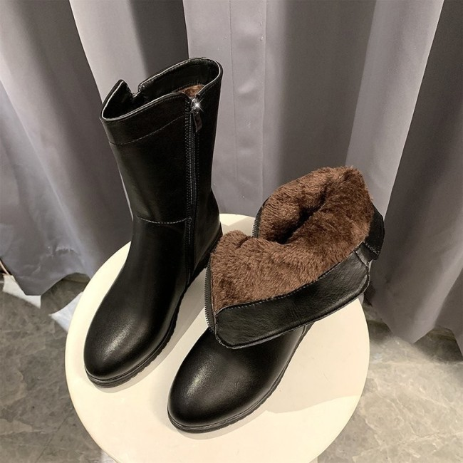 Best-selling New Women Winter Boots Fashion Shoes Women Boots Plus Plush /  Warm Snow Boots Women Boots platform  Mid-calf