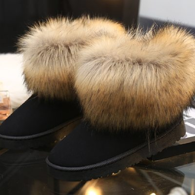 Winter Warm Women Fur Snow Shoes Flats Ankle Snow Boots Women  2020 Fashion Black Round Toe Casual Slip on Ladies Boots Hot Sale