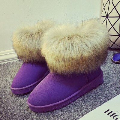 Warm Women Fur Winter Boots Flats Ankle Snow Boots Women 2020 Fashion Black Round Toe Casual Slip on Ladies Boots Big Size
