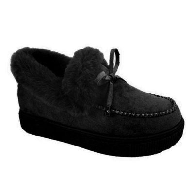 Women Boots 2020 Winter Fur Slip-on Cotton Shoes Cute Bowknot Plush Loafers Winter Warm Short Snow Boots Female Furry Flat Shoes