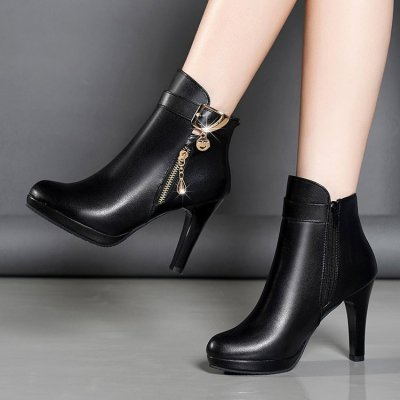 Winter women high heels dress Martin boots women PU Leather Pointed Toe zip Black warm Ankle snow boots women shoes mujer