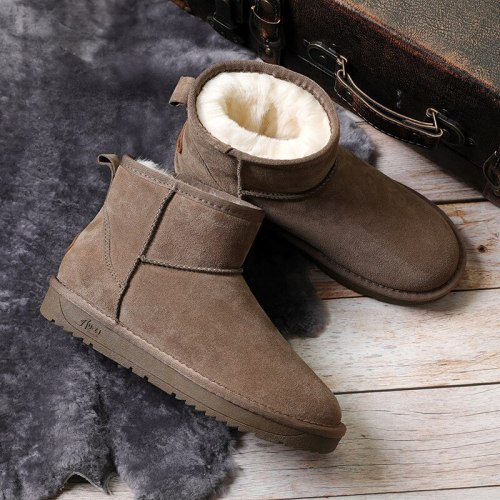 Winter Men And Women Snow Boots Australia Style Genuine Leather Ankle Boots Women Waterproof Warm Short Shoes