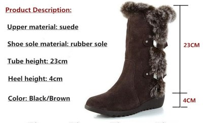 2020 fashion winter boots new snow boots thick bottom set foot cotton boots wedge with women's boots plus size 34-42 Black/Brown