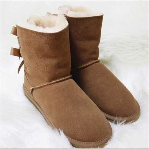 100% Natural Fur Shoes Women Classic Waterproof Genuine Cowhide Leather Snow Boots Women Boots Warm Winter Boots for Women Shoes
