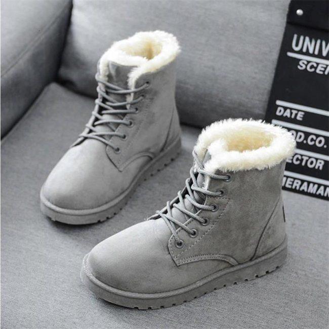 2020 Women Winter Snow Boots Warm Flat Plus Size Platform Lace Up Ladies Women's Shoes New Flock Fur Suede Ankle Boots Female