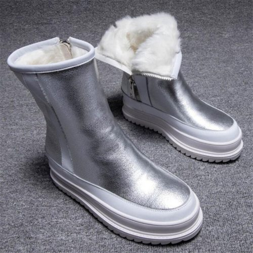 Winter Outdoor shiny furry Snow Boots Women's Zipper Platform Warm Boots thick sole velvet plus Student Women's Boots Y945