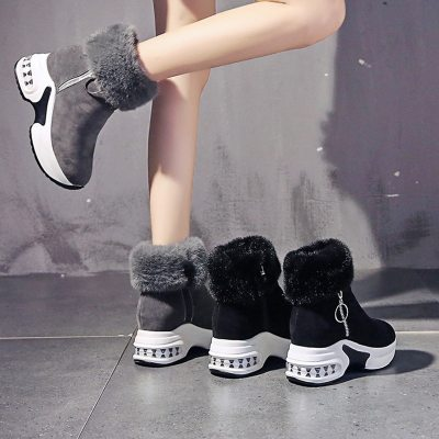 Women Ankle Boot Warm Plush Winter Shoes For Woman Wedges Boots High Heels Ladies Boot Women Leather Snow Boots Winter Shoes