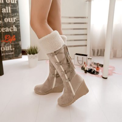 2020 NEW Fashion knee high boots women Spring and Autumn Wedge heel lace up snow boots women casual Keep warm High boots