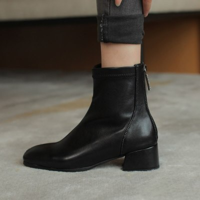 High Quality Thick High Heels Women Ankle Boots Square Toe Zip Footwear PU Leather Female Boot Shoes Woman 2020 New Winter 32 33