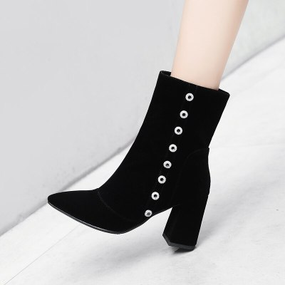 New Women Shoes High Heels Slip ankle boots winter Suede boots elegant Square high heels shoes female Plus size 34-41