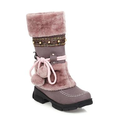 Black Pink Big Size Snow Boots Women 2020 Winter boots High plush Warm shoes Plus size 35-43