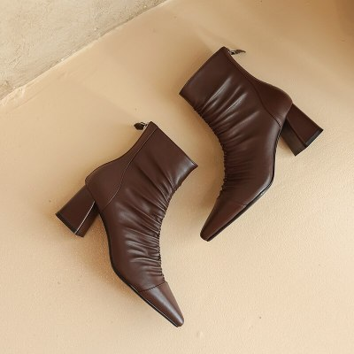 2021 Pointed Toe Fashion Woman Boots Genuine Leather Back Zipper Female Winter Boots Thick Heels Pumps Women Wedding Boots 35-42