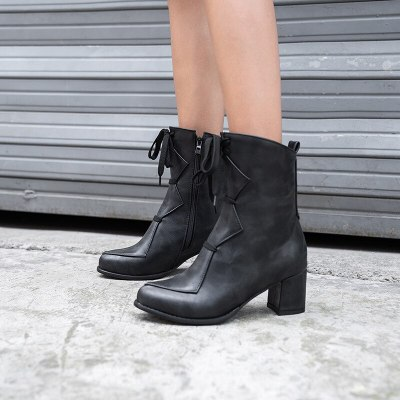Vintage Women's Ankle Boots Shoes New 2020 Winter Motorcycle Boots Block Heels Black Short Boots Fashion Large Size 41-43
