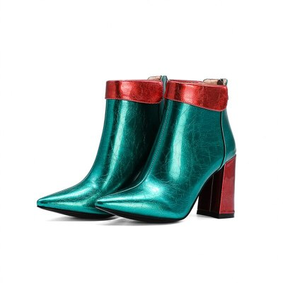 2020 Fashion Pointed Toe Ankle Boots Autumn Winter Women Boots Patent Leather Square High Heel Booties Ladies Shoes 33-43