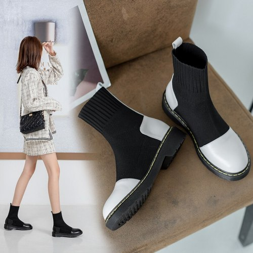 Autumn Winter Ankle Boots Women shoes Water-proof Flat Short Boots Platform socks Boots fashion Women's Shoes Black Large Size 9