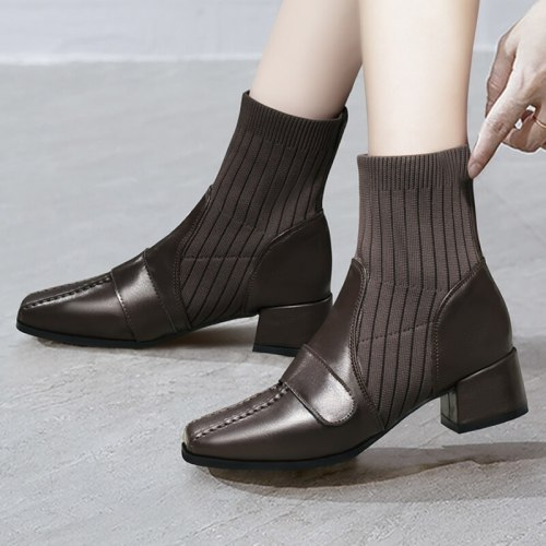 2021 Autumn Women Boots Square toe knitted women's boots High Heel Ankle Boots Fashion Square Toe Boots Black zapatos de mujer