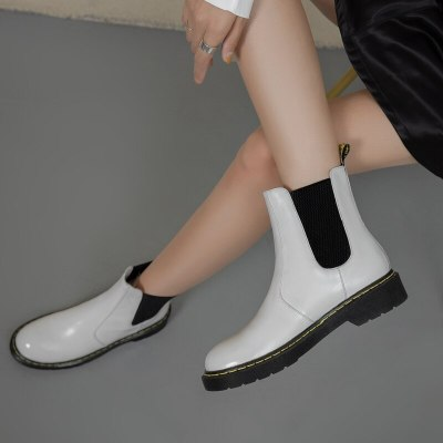 Waterproof PU Leather Platform Ankle Boots Women Fashion Zip Boot Casual Flat Heels Winter White Shoes Woman 36 37 38 39 40 41