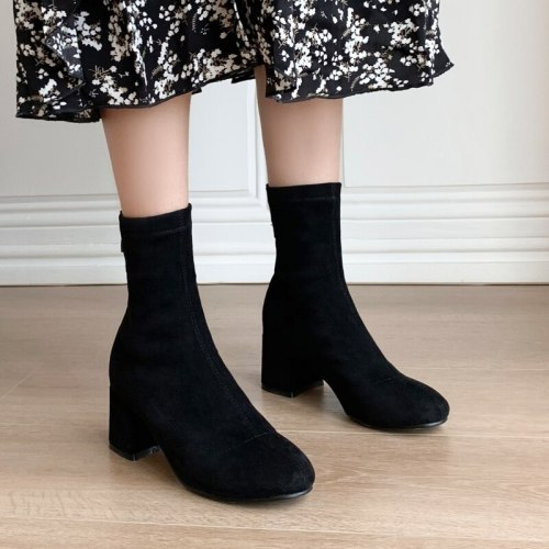 Women Boots Fashion Simple Ankle Boots Women Square Heel Zipper Short Boots Ladies Round Toe Autumn Winter Shoes Black 40 41 42