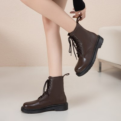 Lace Up Motorcycle Boots Women New 2020 Autumn Winter Warm Women's Ankle Boots Casual Flats Shoes Woman Large Size 35 36 37 38